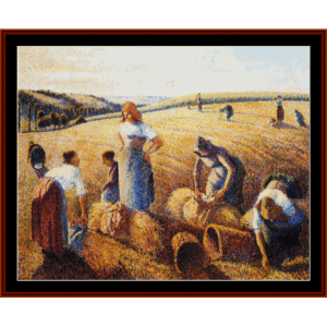 the gleaners, 1889 - pissarro cross stitch pattern by cross stitch collectibles