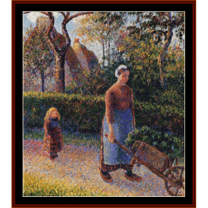 woman with a wheelbarrow - pissarro cross stitch pattern by cross stitch collectibles