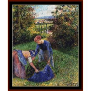 women gathering grass - pissarro cross stitch pattern by cross stitch collectibles