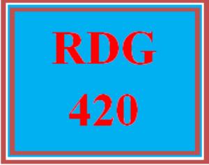 rdg 420 week 5 individual: teaching reflection paper
