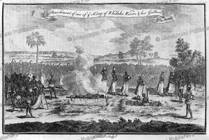 kings wife and her lover put to death for adultery, kingdom of dahomey, 1745