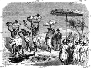 victims thrown to the people of dahomey, kingdom of dahomey (benin), y. foulquier, 1863