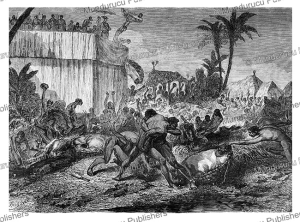 people quarrel for the heads of the victims, kingdom of dahomey (benin), y. foulquier, 1863