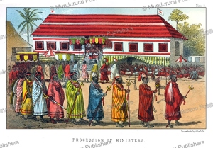 procession of the ministers in kana, kingdom of dahomey, j.a. skertchly, 1871