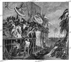 the ritual of sprinkling the graves of the king's ancestors, dahomey, archibald dalzel, 1800