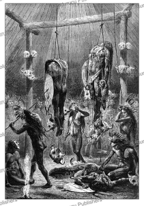 the okipa trial for mandan indians, alphonse de neuville, 1867