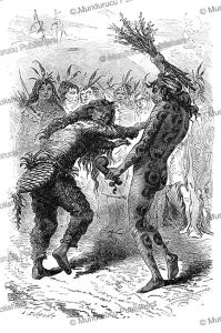 mandan dance of the snake and the beaver, alphonse de neuville, 1867