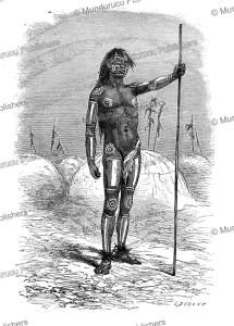 body paint of a mandan indian participating in the bison dance, alphonse de neuville, 1867