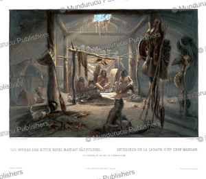 the interior of the hut of a mandan chief, karl bodmer, 1843