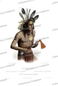 mato´-tope, a mandan chief in war colours, karl bodmer, 1840