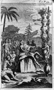 female priest sacrifices a victim before an idol in 1526, peru, d'augustin de zarate, 1774