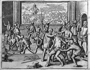 Spanish slaves strangle Inca king Athualpa in 1533, Peru, Jodocus van Winghe, 1598 | Photos and Images | Travel