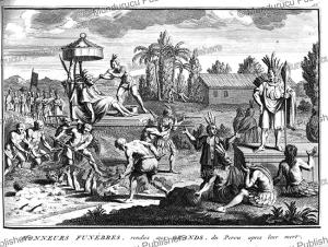 funeral ritual with human sacrifices for inca royals, bernard picart, 1735