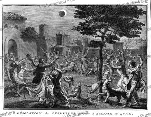 peruvians in despair because of a lunar eclipse, bernard picart, 1735
