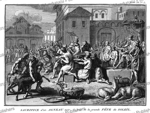 sacrifice of a lamb at the inca great feast of the sun, bernard picart, 1735