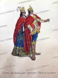indian representation of the costumes of the inca and his wife, manuel sobreviela, 1809