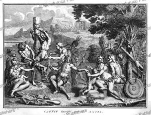 antis indians of peru sacrifice a prisoner, bernard picart, 1735
