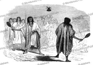 conibo indians playing a ball game, e´douard riou, 1866