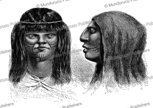 types of chontaquiro or yine indians, peru, e´douard riou, 1866