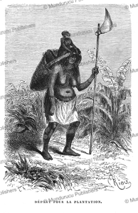 shipibo woman going to work on a plantation, peru, e´douard riou, 1866