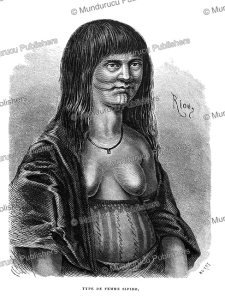 shipibo woman with tattoos on her belly, peru, e´douard riou, 1866