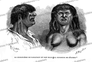 ccoto-orejone indians and his wife, sarayaku district, peru, e´douard riou, 1866