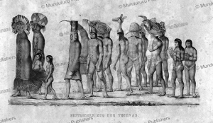 festive procession of ticuna indians, brazil, spix and martius, 1823