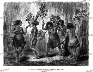 the flogging, a custom of the ticuna indians, peru, e´douard riou, 1867