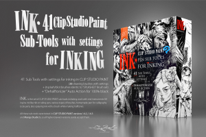 ink. for clip studio paint: 41 sub-tools for inking + auto action for 100% black
