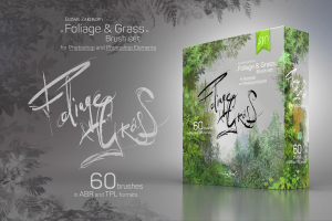 foliage & grass 60 brushes with settings for adobe photoshop and photoshop elements in abr and tpl formats