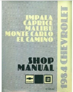 1984 el camino/monte carlo shop manual