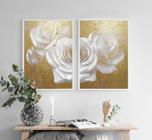 gold white flowers set of 2
