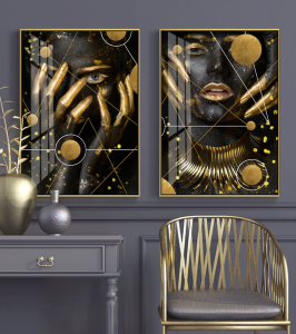 2 abstract girls art prints