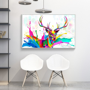 colorful deer well art