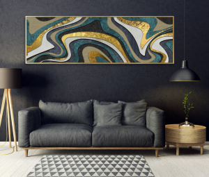 gold abstract wide print