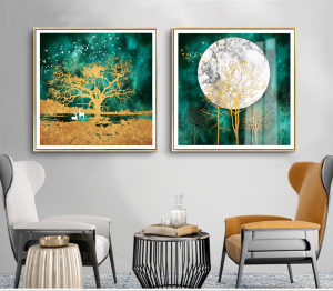 set of 2 abstract moon and tree