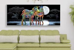 zebras at night print