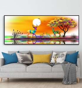 colorful deers well art
