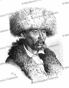 portrait of vereshchagin's guide from hodgiaghend to buka in uzbekistan, emile pierre metzmacher, 1873