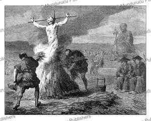 punishment by burning to the stake, japan, de feyen-perrin, 1866