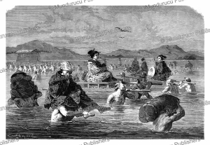 japanese lady crossing a ford, emile bayard, 1867