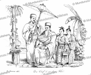 a chief of the liukiu islands with his daughters, louis auguste de sainson, 1839