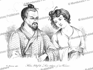 komi, a chief of the liukiu islands with his wife, louis auguste de sainson, 1839