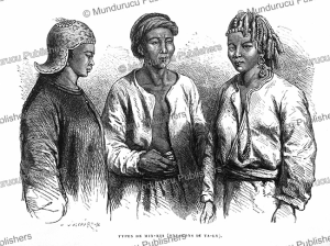 men and women of the pen-ti-jen population (near ta-ly), yunnan, louis delaporte, 1873