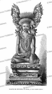 wooden statue of buddha at tat chom yong, yunnan, louis delaporte, 1873