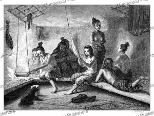inside an eskimo hut, stahl, 1861