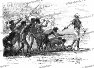 explorer colonel peter egerton-warburton surprised by the savages of australia, d. maillart, 1865