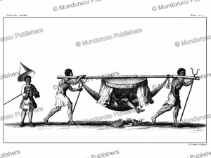 two blacks [slaves] use a pole to carry a man on a covered hammock, brazil, franc¸ois ame´de´e fre´zier, 1718