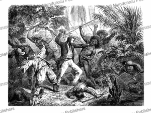 the crew of the saint john attacked by savages of rossel island, papua new guinea, d'hadamard, 1875