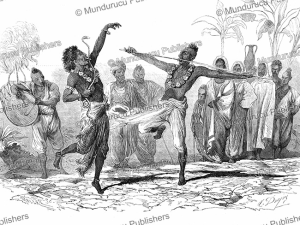 dance of the sunyasees or holy men at the feast of the churruck poojah, india, l'ilustration, 1844